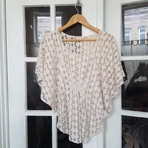 Anthropologie Ivory Lace Top